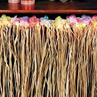 Natural Raffia Light Up Flowered Table Skirt Table Skirting (1 Per Package)