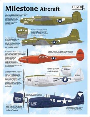 10,000 Milestone Aircraft: B-17, B-24, P-38, P-47, F6F (1/72 decals, Iliad 72010)