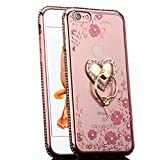 img - for iPhone 6S Case, iPhone 6 Case, CaseUp Glitter Crystal Heart Floral Series - Slim Luxury Bling Rhinestone Clear TPU Case With Ring Stand For iPhone 6S/ iPhone 6 (4.7 Inch) Rose Gold book / textbook / text book