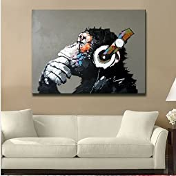 Modern Gorilla Monkey Music Oil Painting Wall Painting Canvas Painting Home Decor Oil on Canvas 36x36 inches