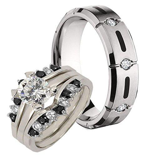 His Her'S Titanium Black Resin Inlay & Silver 925 Round Simulated Diamond Bridal Ring Set Sz 8, 10