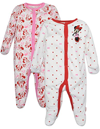 Minnie Mouse Footie Pajamas 2 Pack, White and Pink, Size 0-6 Months