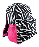 Zebra Stripe Print Backpack Book Bag Hot Pink Trim
