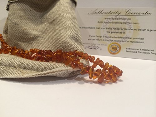 14 Inch Baltic Amber Teething Necklace for Toddler and Big Kid (Unisex) - Honey Brown Anti Flammatory, Drooling & Teething Pain Reduce Properties - Growing Pains. Certificated Natural Oval Baltic Jewelry with the Highest Quality Guaranteed. Easy to Fastens with a Twist-in Screw Clasp Mothers Approved Remedies! 14 inches, Helps some with colic & eczema.