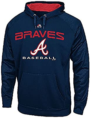 Atlanta Braves Mens Navy 2 Cool Pullover Synthetic Hoodie by Majestic