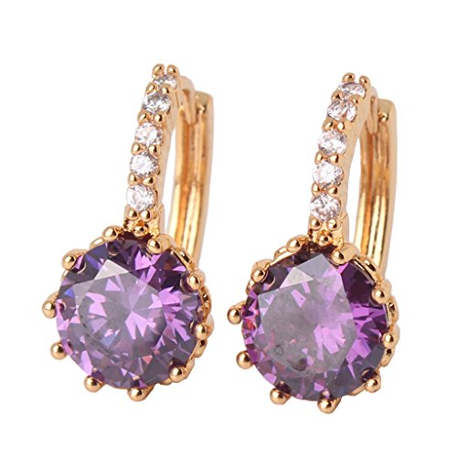 GULICX Fashion Amethyst Color Yellow Gold Tone purple crystal lady's Hoop leverback earring