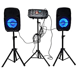 DIHORSE Portable PA System DJ Speaker with Band Equalizer, Bluetooth, Party Lights, Power Mixer, Wired Microphone and Tripod Stand