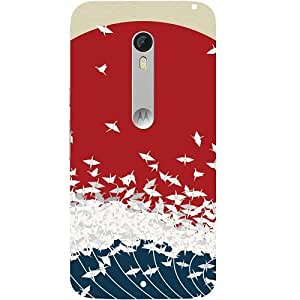Casotec Sea Waves Print Design Hard Back Case Cover for Motorola Moto X Style