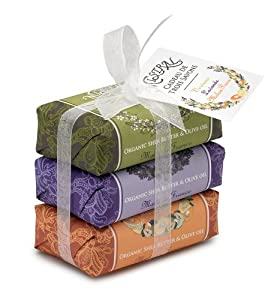 Mistral Soap Pack with a Bow, 3 - 100 g paper wrapped soaps: Verbena, Lavender, Melon Pear