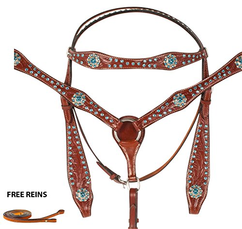 beautiful-western-headstall-bridle-reins-breast-collar-horse-leather-tack-set-turquoise-blue-crystal