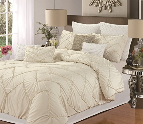 Isabella 8-Piece Duvet Cover Set, Queen Size, Beige; Sheet Set, Shams And Decorative Pillow Included front-967001