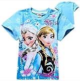 Doremo global Tシャツ  キッズ アナと雪の女王 Tシャツ 子供用  ペアルック カップル 半袖Tシャツ Frozen/Elsa /Anna アナと雪の女王風  親子ペアルック Tシャツ (120cm, ブルー)