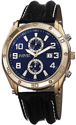 August Steiner Men's Swiss Quartz Multifunction Blue & Gold-tone Dial Black Leather Strap Watch