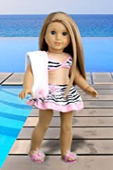 Fun with the Sun - 4 piece bikini outfit includes skirt, bikini top, matching flip flops and beach blanket - 18 Inch Doll Clothes