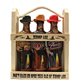 Whoop Ass Hot Sauce Gift Set - In a Wooden Crate! All three Whoop Ass Hot Sauce Cowboys are packed into the local saloon and they're packin' heat. Watch yourself, pardner! Makes the perfect gift for any Hot Sauce connoisseur.