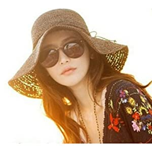 Smartele New Arrival Fashion Ladies Woman Bohemia Summer Straw Sun Visor Wide Large Brim Floppy Fold Summer Swimming Beach Straw Hat for Holiday Traveling One Size