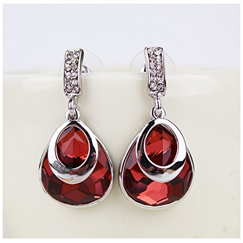 [Elakaka Women's Luxury Crystal Droplets Earrings(Red)] (Primark Halloween Costumes Uk)