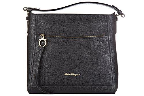 Salvatore Ferragamo borsa donna a spalla shopping in pelle nuova tote ally nero
