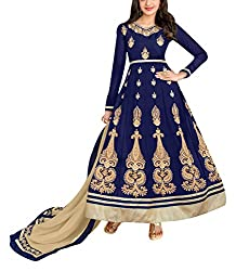 Sara Fashion Women's Georgette Unstitched Dress Material (Blue)