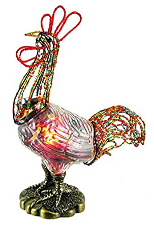 beaded stained glass rooster accent lamp chicken table lamps. Black Bedroom Furniture Sets. Home Design Ideas