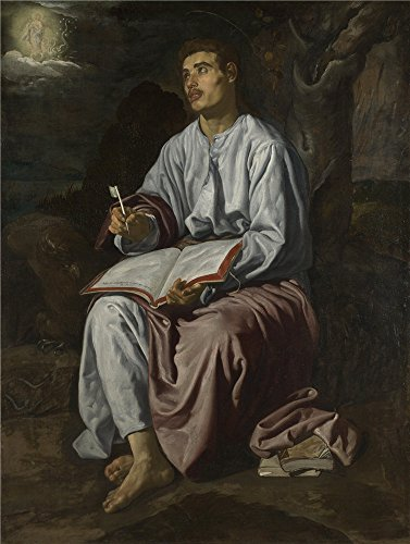 The Polyster Canvas Of Oil Painting 'Diego Velizquez Saint John The Evangelist On The Island Of Patmos ' ,size: 10 X 13 Inch / 25 X 34 Cm ,this High Resolution Art Decorative Prints On Canvas Is Fit For Basement Decor And Home Artwork And Gifts