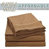 Anili Mili's Triple Stitch Embroidery Affordable 4 PC Bed Sheet Set - Queen Size, Mocha (Light Brown)