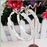 "Fashion 2 1/5"" Silver Plated 2-Row Cubic Zirconia Womens Hoop Earrings"