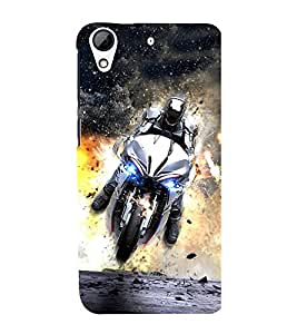 Fuson Premium Back Case Cover Man on bike With Multi Background Degined For HTC Desire 728g Dual::HTC Desire 728G::HTC Desire 728