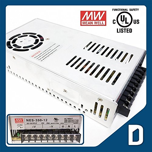 Dc12V 29A 348W Output Enclosed Switching Power Supply - Ul Listed - Ac100 To 240V Input - Transformer / Driver / Adapter / Electricity Converter For Led Light Strip Cord Ribbon Rope Module Dmx Electronic Regulated Dc Electric Source Indoor