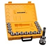 Accusize - R8 Shank + 15 Pcs ER40 Collet Set + Wrench in Fitted Strong Box, #0223-0984