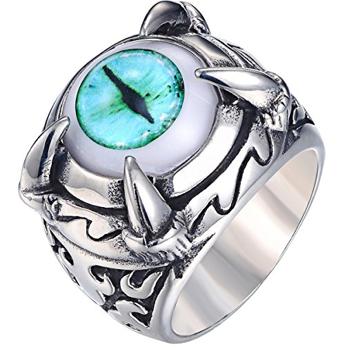 VALYRIA Stainless Steel Talon Dragon Claw Evil Devil Eye Biker Men's Ring,Blue Ancient Silver (11)? (Dragon Eye Ring compare prices)