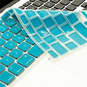 """TopCase® AQUA BLUE Keyboard Silicone Cover Skin for Macbook 13"""" Unibody / Macbook Pro 13"""" 15"""" 17"""" with or without Retina Display + TOPCASE® Logo Mouse Pad"""