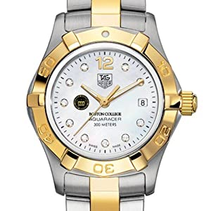 Boston College TAG Heuer Watch - Ladies Two-Tone Aquaracer Watch with Diamonds by TAG Heuer