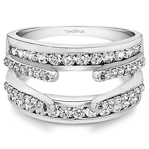 Sterling Silver Combination Cathedral and Classic Ring Guard with Cubic Zirconia (1.04 ct. tw.) (Diamond Guard Ring compare prices)