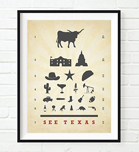 see-texas-eye-chart-art-print-unframed-longhorn-cowboy-star-taco-alamo-come-and-get-it-wall-home-dec