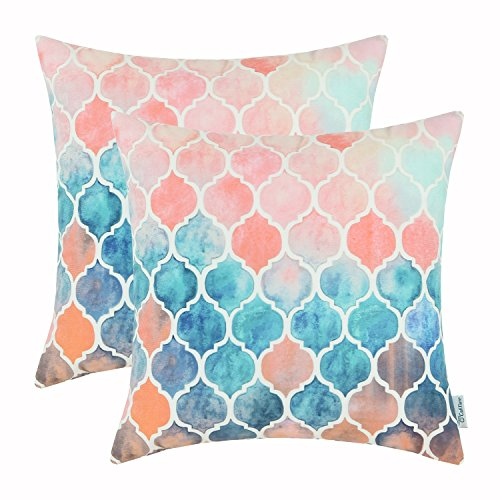 Pack of 2 CaliTime Throw Pillow Covers, Manual Hand Painted Print Colorful Trellis Chain ...