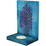 Indian Artisans Online Wooden Tealight Candle Holder (15 Cm X 10 Cm, Blue, IAHTH101)