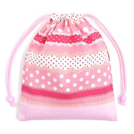 ごきげんランチの巾着(中サイズ)マチ無し給食袋 リボンとレースの水玉ハーモニー(ピンク) × オックス・ピンク 日本製 N7001200