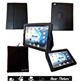 Bear Motion 100% Genuine Leather Case with Built-in Stand for iPad 3 / the New iPad / the iPad 4th Generation (Latest Generation) - Black