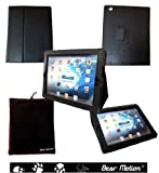 Bear Motion 100% Genuine Leather Case with Built-in Stand for iPad 3 / the New iPad (Latest Generation) - Black