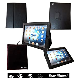 Bear Motion Genuine Leather Case w/Built-in Stand for the New iPad