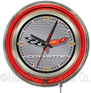 Corvette - C6 15 Double Neon Ring Logo Wall Clock Color: Silver Black by Holland Bar Stool