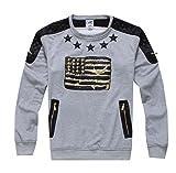 Madhero Men's American Flag Logo Round Neck Fashion Shirt (XL, Grey)