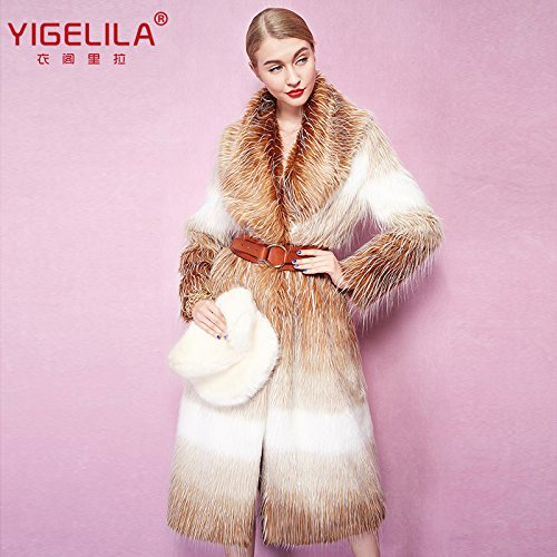 Fashion Women Long Gradient Color Fox Fur Coat Long Sleeve 3