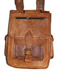 "HLC-(Handmade Leather Craft) 13"" Real Leather Rucksack Handmade Messenger Vintage Bag Backpack Satchel Stylish..."
