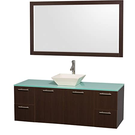 Wyndham Collection Amare 60 inch Single Bathroom Vanity in Espresso with Green Glass Top with Bone Porcelain Sink, and 58 inch Mirror