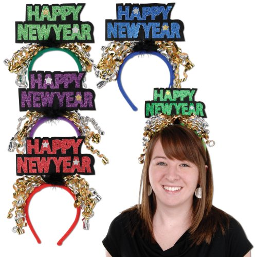 Beistle 80733 Glittered Happy New Year Headbands, 1 Per Package - 1