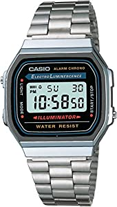 Casio - Vintage - A168WA-1YES - Montre Homme- Quartz digitale - Chronographe - Bracelet acier