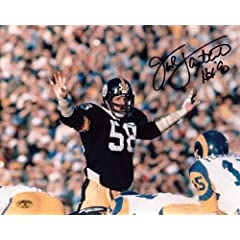 Jack Lambert Signed Pittsburgh Steelers 8x10 Photo with HOF 90 Inscription Hands Up -... by Sports Memorabilia