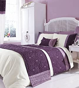 chic at home lois parure de lit contemporaine florale violet mauve double cuisine. Black Bedroom Furniture Sets. Home Design Ideas
